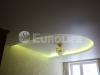 Двухуровневый натяжной потолок с закарнизной подсветкой в спальне