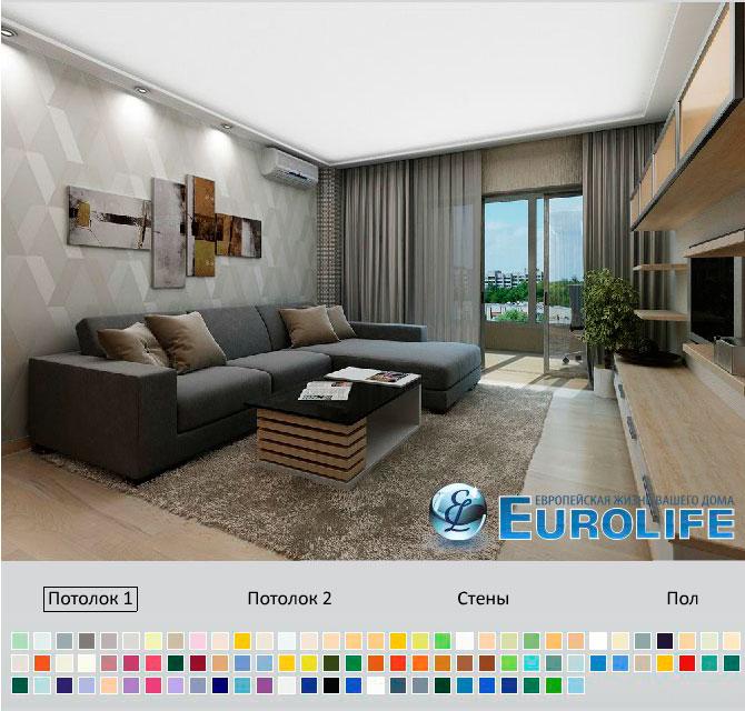Двухуровневый натяжной потолок в современном стиле на кухне. Потолок имеет встроенное высокотехнологичное освещение с различными вариантами выбора количества и качества света