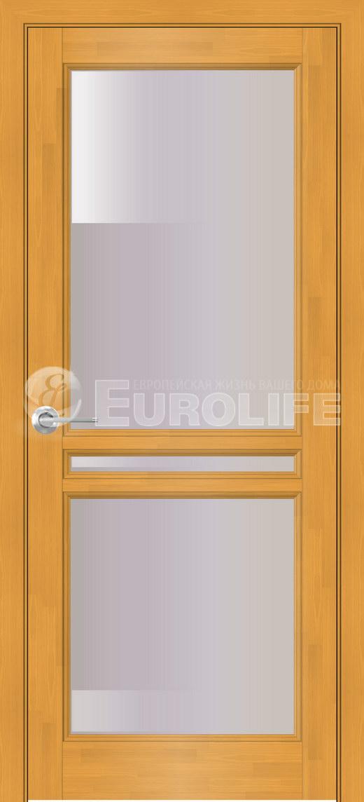 американский орех со вставкой по середине двери из черного стекла