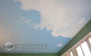Фотопечать неба на тканевом потолке