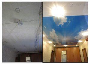 Потолок с фотопечатью до и после