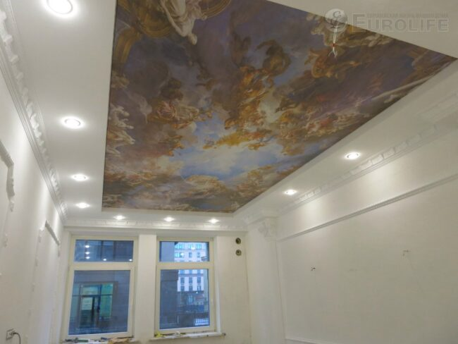 Фреска на потолке натяжном