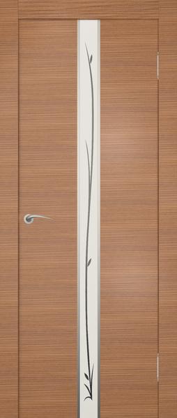 Дверь экошпон с узором на узкой вставке из стекла придает интерьеры изящность.