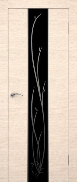 Горизонтальное направление экошпона двери в сочетании с вертикальным узором на стекле.