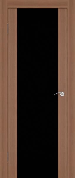Дверь со сплошной вставкой из черного стекла с зеркальным эффектом.
