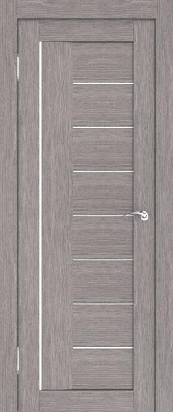 Серая дверь с контрастными вставками