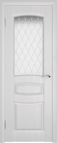 Белая дверь с дизайнерским стеклом.
