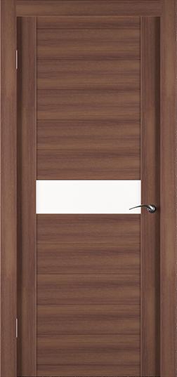 Экошпонированная дверь Eco орех со вставкой из стекла - Задор