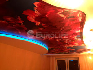 Торцевая подсветка перехода уровня натяжного потолка