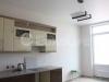 Классический матовый белый натяжной потолок в кухне.