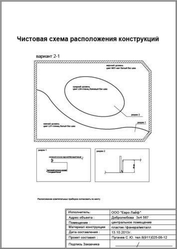 Чистовая схема расположения конструкций Утверждение конечного варианта расположения несущих конструкций. В нашем примере был Утвержден вариант 2-1. На основе него был отрисован рабочий проект.