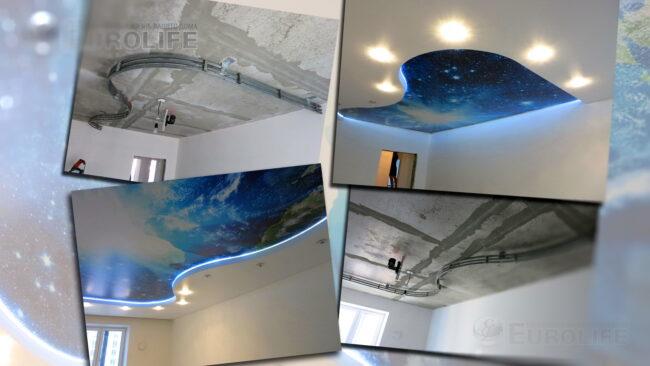 "Космос на потолке ""до и после"""