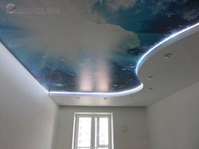 Фотопечать космоса на сатиновом потолке