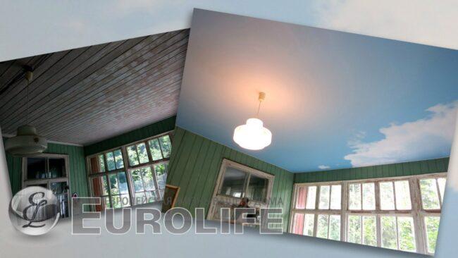 """фотопечать неба на потолке """"до и после"""""""
