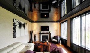 Черный глянцевый потолок – альтернатива зеркальному потолку