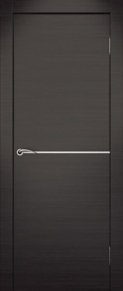 Дверь экошпон с поперечной вставкой из алюминия