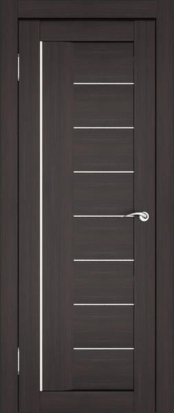 Темная дверь с темными вставками из стекла на контрасте с алюминиевой полоской