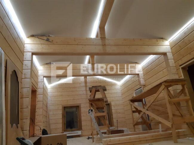 Натяжной потолок с контурной подсветкой в коттедже