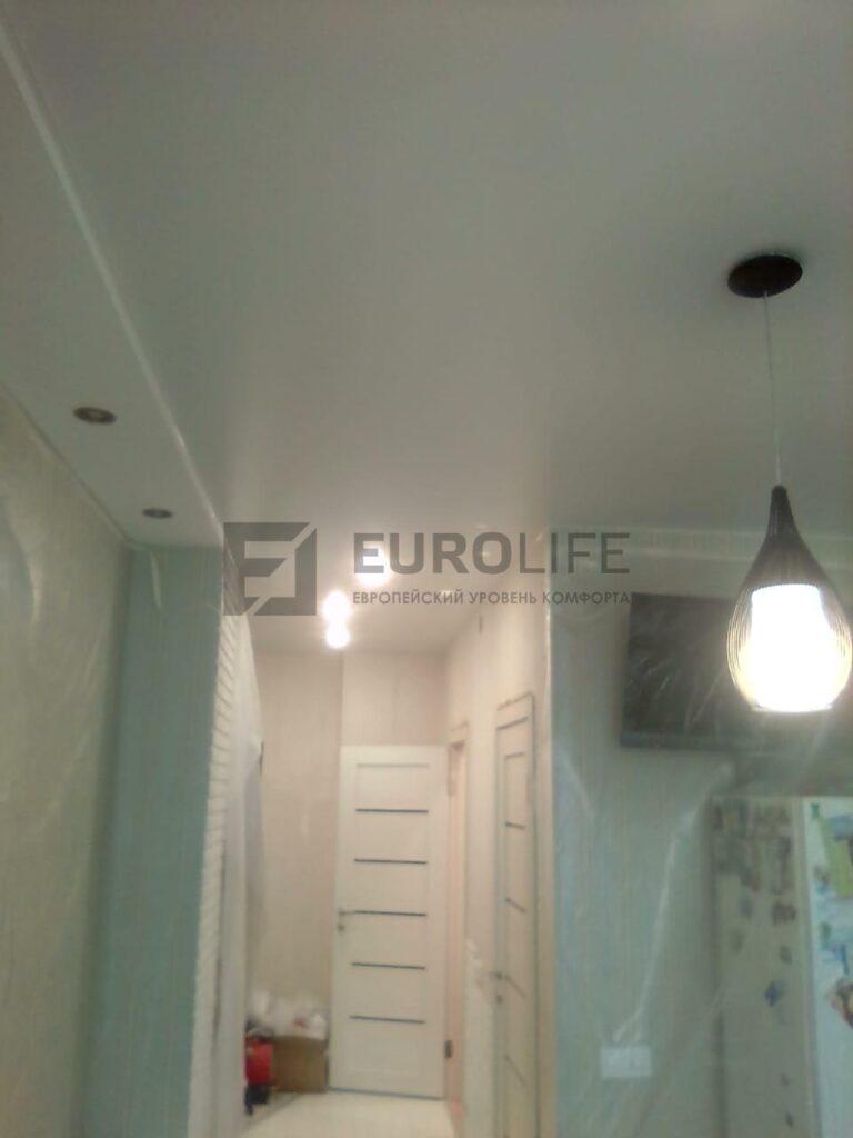 потолок единым полотном переходящий из коридора в зал