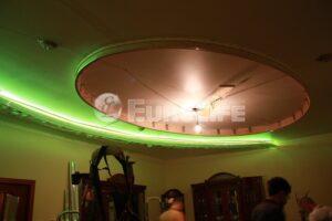 Процесс создания многоуровневого потолка - монтаж светодиодной ленты, монтаж электропроводки