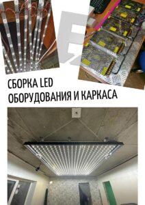сборка LED оборудования и каркаса
