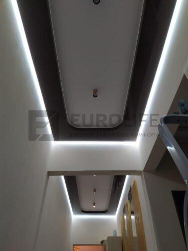 Разные группы включения светильников и подсветки. Светильники в разных частях коридора тоже включаются независимо.