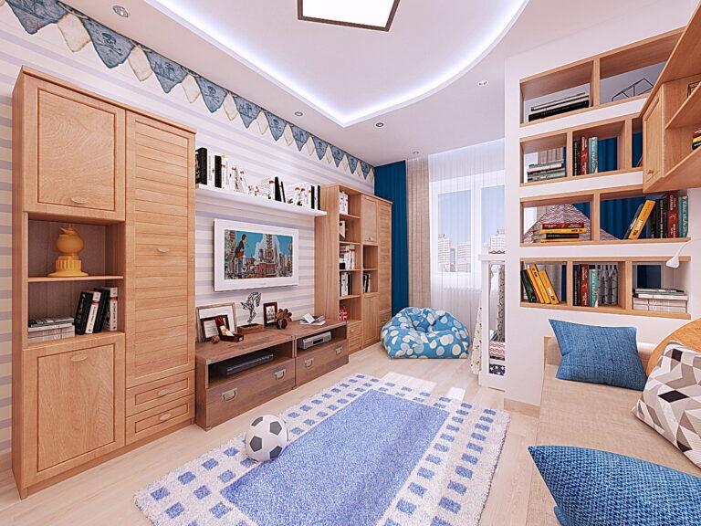 белый матовый двухуровневый потолок с подсветкой и скрытым карнизом в детскую