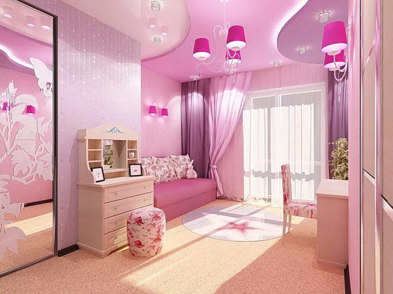 двухуровневый глянцевый розовый натяжной потолок с нишей скрытого карниза в детскую