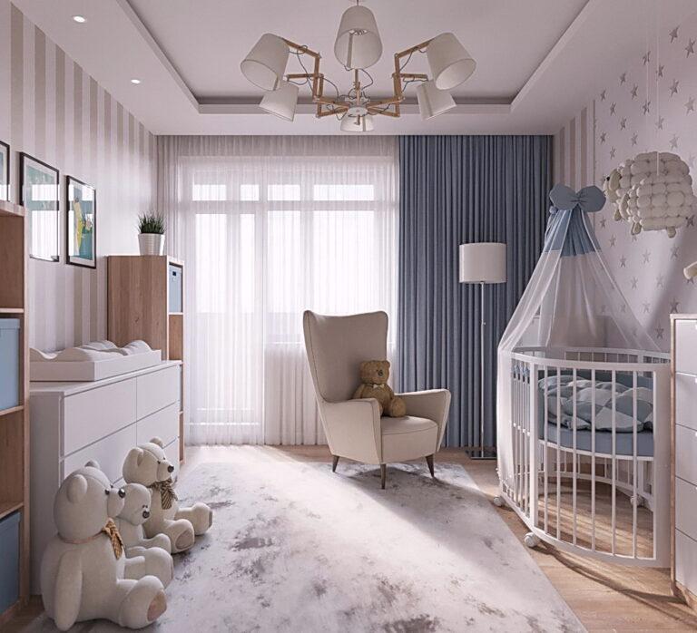 двухуровневый матовый натяжной потолок со скрытым карнизом в детскую