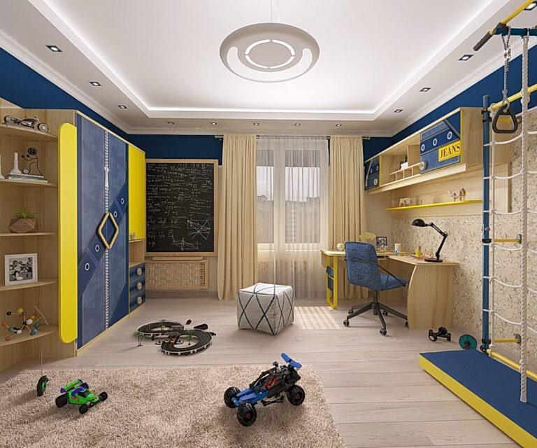 двухуровневый сатиновый натяжной потолок с подсветкой в детскую