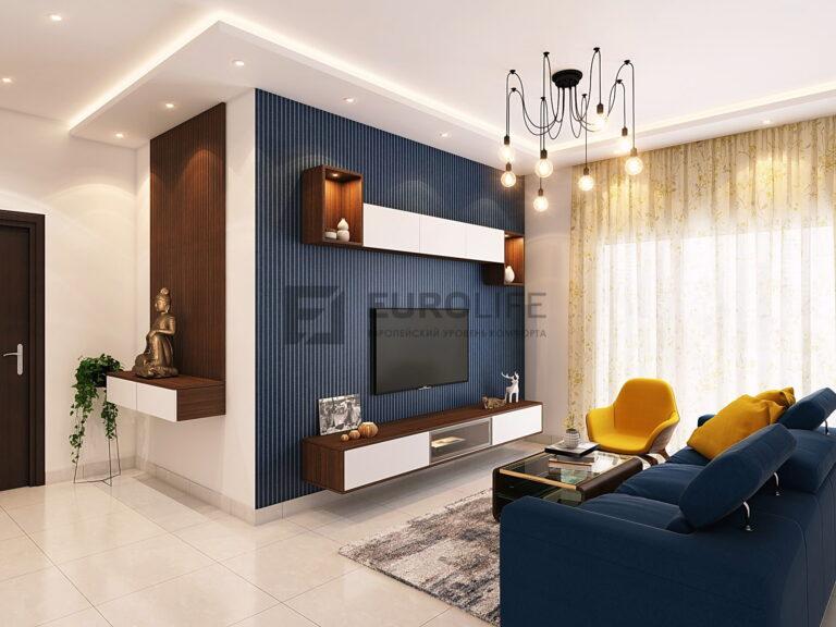 двухуровневый матовый потолок с закарнизной подсветкой в гостиной