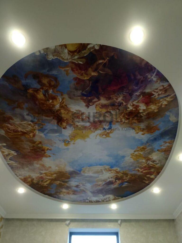 двухуровневый потолок с фотопечатью известной фрески