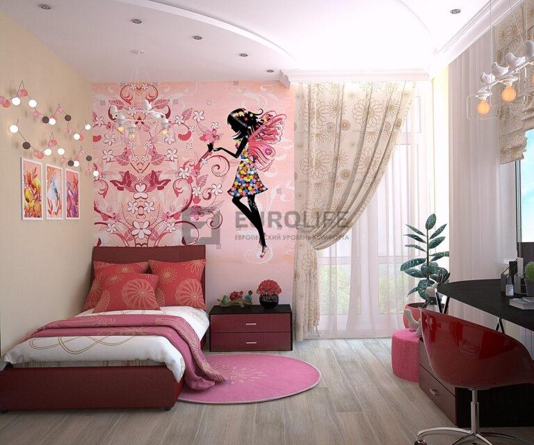 матовый двухуровневый потолок в детской девочки