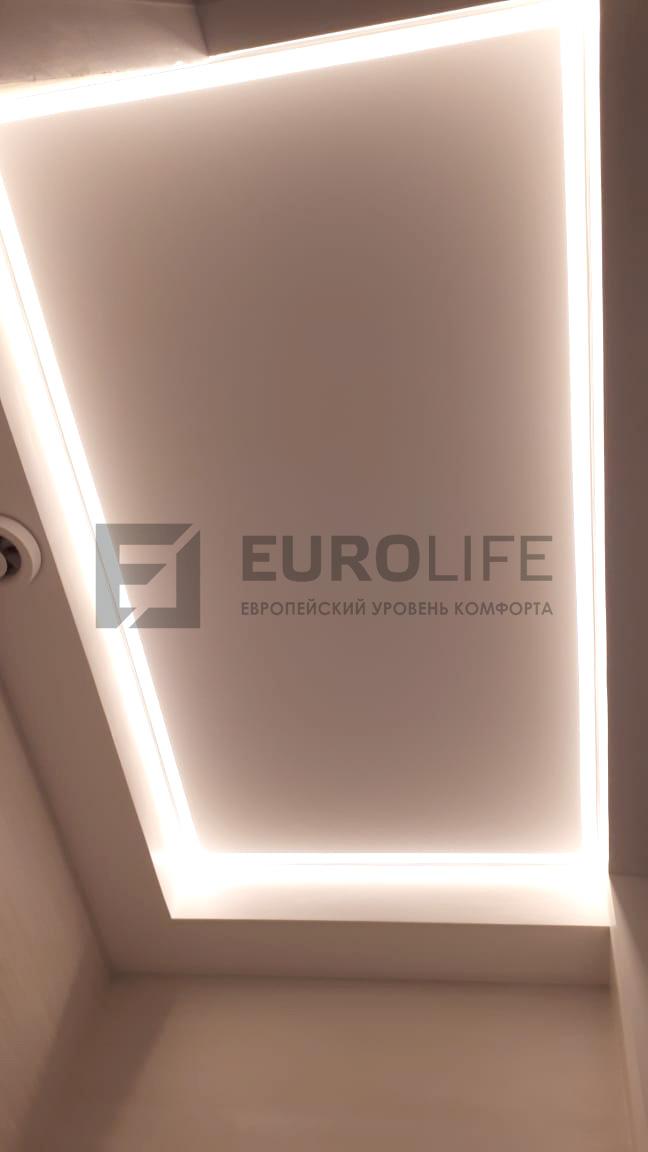 натяжное полотно с подсветкой в ГКЛ коробе