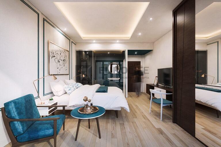 двухуровневый теневой потолок с закарнизной подсветкой и точечными светильниками в спальне