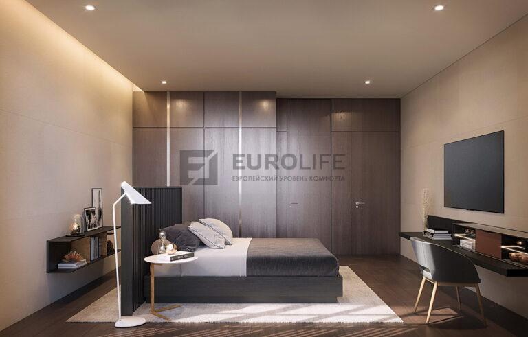 теневой матовый потолок с подсвеченной нишей slott в спальне