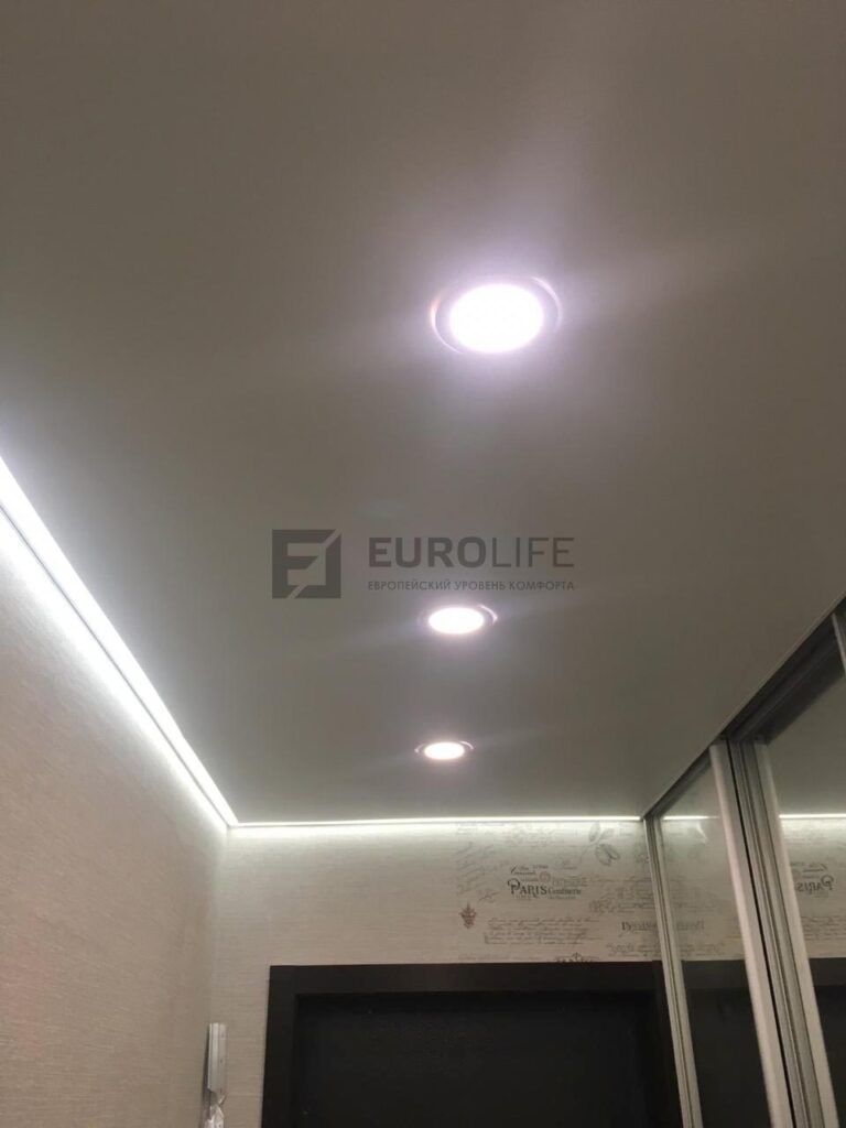 белый матовый контурный потолок в прихожей