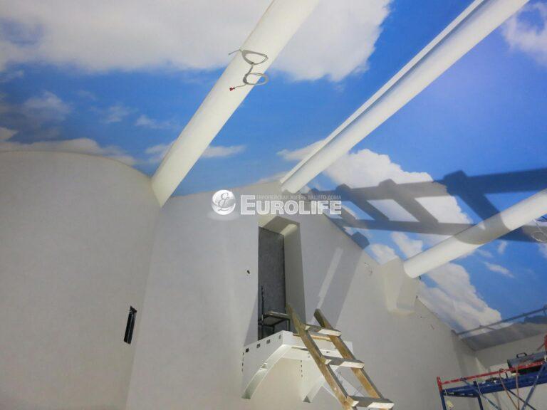 Мансардный потолок ПВХ с арт печатью из четырех частей