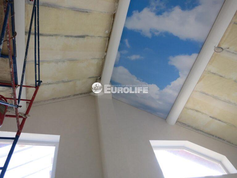 Мансардный потолок ПВХ с арт печатью из четырех частей2