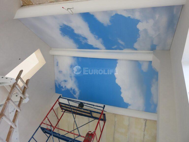 Мансардный потолок ПВХ с арт печатью из четырех частей3