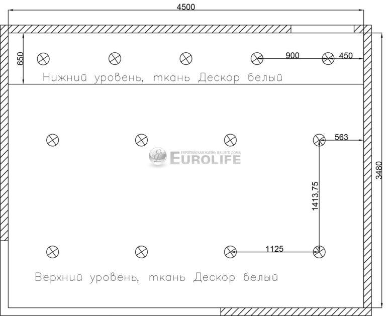 Прямолинейный двухуровневый тканевый потолок - схема