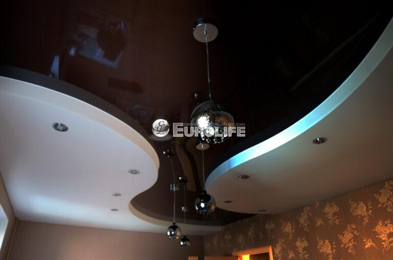 Трехуровневый натяжной потолок ПВХ на металлоконструкции