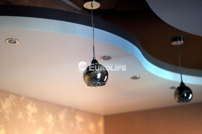 Трехуровневый натяжной потолок ПВХ на металлоконструкции6