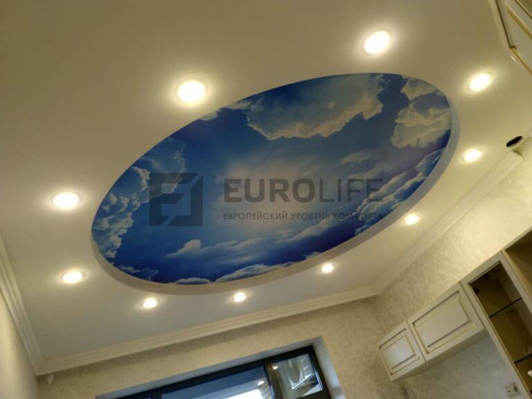 круглая вставка неба в двухуровневый потолок