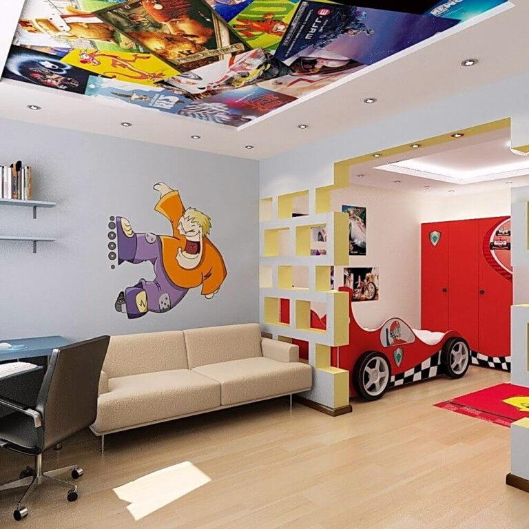 натяжной потолок в гкл коробе с фотопечатью и подсветкой в детскую