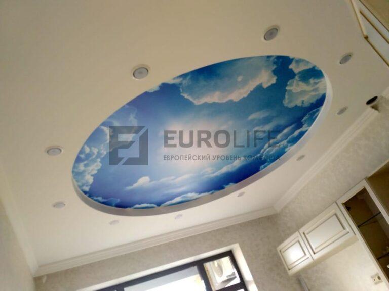 светильники по кругу по периметру потолка с фотопечатью