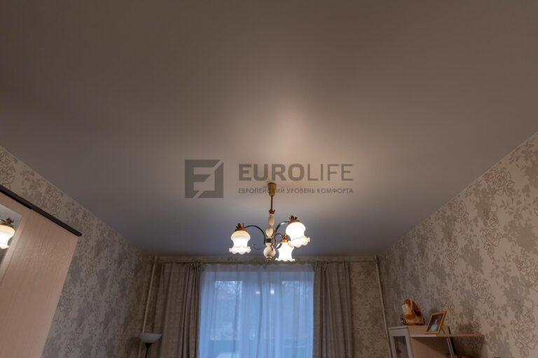стандартный потолок с 1 люстрой и обходом двух труб