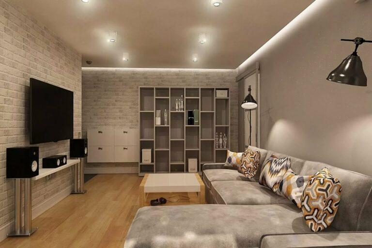 парящий потолок с подсветкой 2 стен