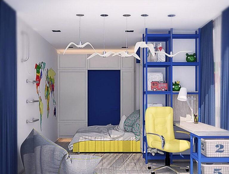 белый тканевый потолок с подсветкой и скрытым карнизом в детскую