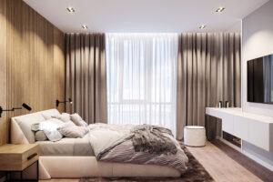 потолок с прямоугольными карданными светильниками и подсветкой штор в нише